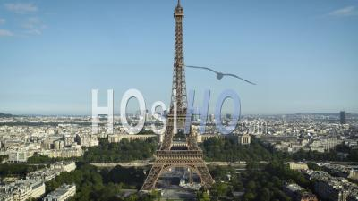 Aerial View Of The Eiffel Tower In Summer - Video Drone Footage