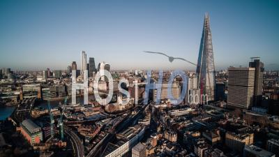 London Skyline Shard The City Panorama Canary Wharf In The Background United Kingdom - Drone Point Of View