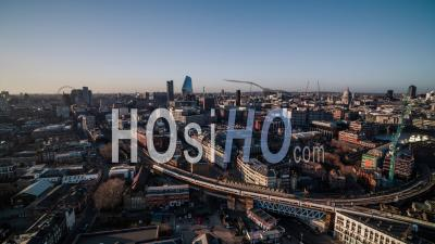 London South Central Skyline London Eye Bt Tower St Pauls Panorama United Kingdom - Drone Point Of View