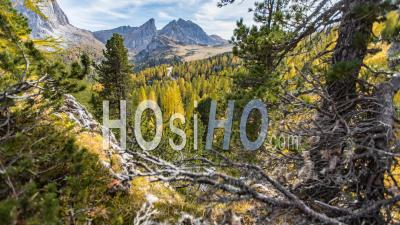 Timelapse Of The Dolomites Landscape During Autumn
