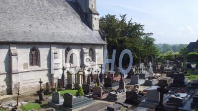 Video Drone Footage Of The Church Saint Pierre Of Saint Pierre Azif, Normandy, Calvados, France