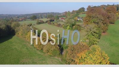 Video Drone Footage Around The Bocage Normandy, Hermival Les Vaux, Calvados, Normandy, France