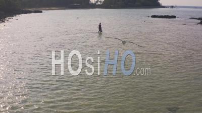 Fisherman Off Beach In Koh Mak - Video Drone Footage