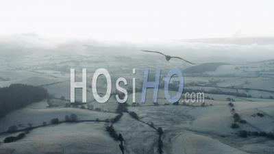 British Countrysie Hills At Frosty Morning - Drone Point Of View