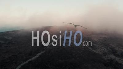 Moorland Capped In Frosty Fog - Video Drone Footage