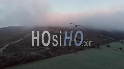 Moorland Capped In Frosty Fog At Autumn - Video Drone Footage