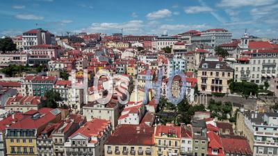 Lisbon Skyline, Pombaline Downtown, Lisbon, Lisboa, Portugal - Video Drone Footage
