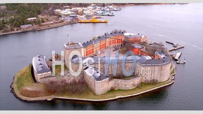 Aerial View Over Vaxholm Fortress In Stockholm - Aerial Video By Drone