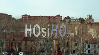 Perpignan City Center With Canigou Mountain Behind - Aerial Video By Drone