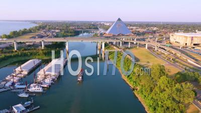 Memphis Tennessee Waterfront And Mud Island With Memphis Pyramid Background - Aerial Video By Drone