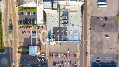 Urban City Downtown Business District Buildings Streets, Memphis, Tennessee - Aerial Video By Drone