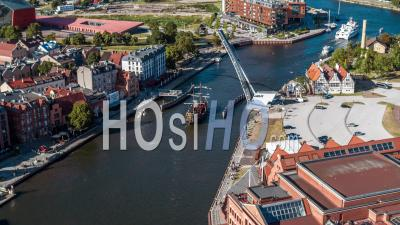 Black Pearl, Czarna Perla, Ship, Old Motlawa, Old Town, Stare Miasto - Video Drone Footage