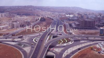 2019 - Aerial Video Of Traffic Circle Or Roundabout With Car Traffic, Amman, Jordan - Drone Stock Footage