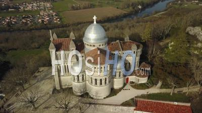 Notre Dame De Peyragude On His Hill Overlooking The Lot - Video Drone Footage