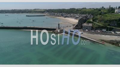 Harbour Of Cancale, Brittany, France, In Summer - Video Drone Footage