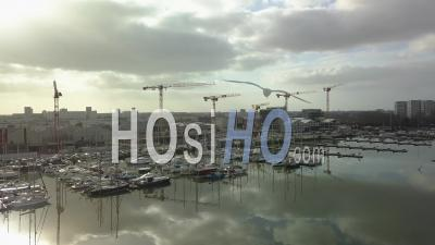 The Harbor In The Floating Basin Of Bordeaux - Drone Stock Footage