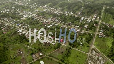 Remote Suburban Area In Suriname Rural Landscape, Aerial View - Video Drone Footage