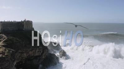 Big Waves At Nazare's Lighthouse - Video Drone Footage