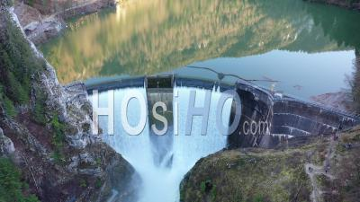 Chatelot Dam On The Swiss Border - Video Drone Footage