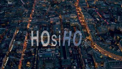 Regent Street, Piccadilly Circus, Leicester Square De Nuit Filmé En Hélicoptère
