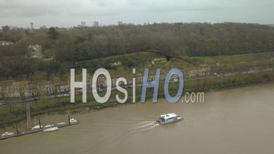 The River Shuttle Between Lormont And Bordeaux - Video Drone Footage
