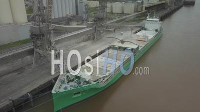 A Maize Loading Operation In A Cargo Ship - Video Drone Footage