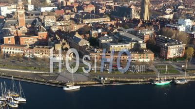 Dunkerque Empty City During Covid-19 Global Lockdown - Video Drone Footage