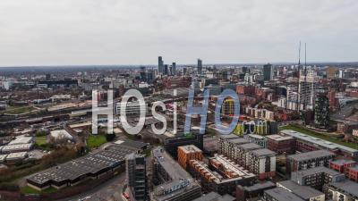 Manchester City Skyline England United Kingdom Day - Video Drone Footage