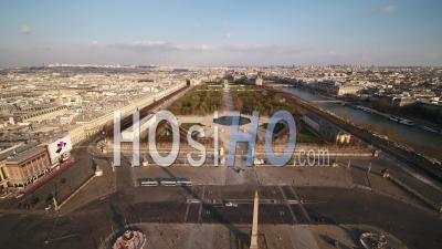 Paris Empty City, Jardin Du Luxembourg And Place De La Concorde, During Covid-19 Global Lockdown, France - Video Drone Footage