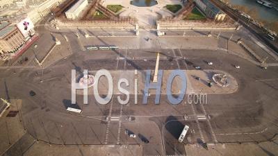 Paris Empty City, Place De La Concorde And La Madeleine, During Covid-19 Global Lockdown, France - Video Drone Footage