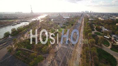 Paris Empty City, Place De La Concorde, During Covid-19 Global Lockdown, France - Video Drone Footage