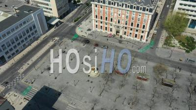 Place De La Joliette In Marseille City At Day 12, France - Video Drone Footage