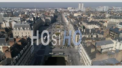 The Republic Place In Rennes, Brittany, France, During The Containment Due To The Covid-19 Epidemic - Video Drone Footage