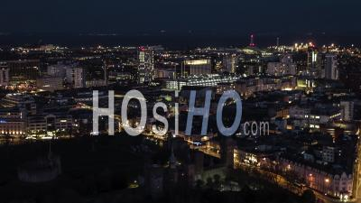 Cardiff Pays De Galles Royaume-Uni, De Nuit - Vidéo Drone