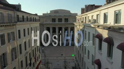 Opera Hall Of Marseille City At Day 17 Of Covid-19 Outbreak, France - Video Drone Footage