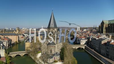 Empty City Of Metz During Lockdown Due To Covid-19 - Temple Neuf - Video Drone Footage