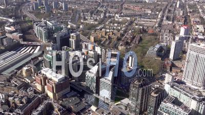 Paddington Station And Paddington Basin Development, 360 Degrees, London Filmed By Helicopter