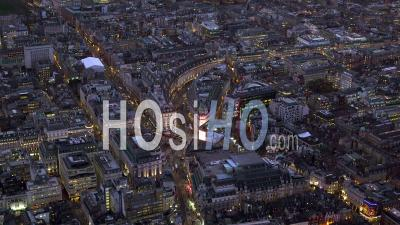Piccadilly Circus And Regent Street At Night, London Filmed By Helicopter