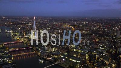 The Shard And Southbank, River Thames And City Cluster At Night, London Filmed By Helicopter