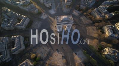 Place De L'etoile And Triumph Arch In Paris During The Covid-19 Lockdown – Video Drone Footage