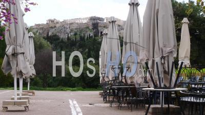 Café Fermé, Vue Sur L'acropole D'athènes, Confinement Grèce