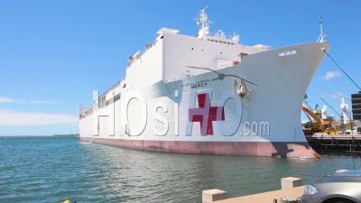 2020 - U.S. Navy Hospital Ship Mercy Is Activated To Fight The Coronavirus Covid-19 Virus Outbreak.