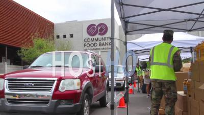 2020 - During The Covid-19 Coronavirus Epidemic Outbreak, Members Of The Armed Forces Hand Out Groceries At A Food Bank In Arizona.