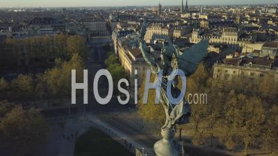 Aerial View, Bordeaux City During Covid19, Place Des Quinconces, Monument Aux Girondins - Video Drone Footage