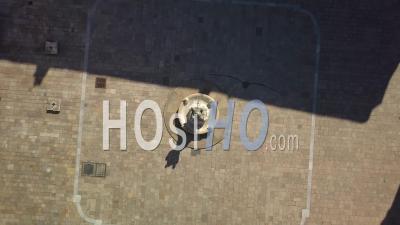 Aerial View Of Bordeaux City, Saint-Pierre District, Parliament Square, Confinement Covid19 - Video Drone Footage