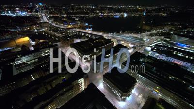 Trafic Sur Le Pont Central à Stockholm, Suède - Vidéo Drone