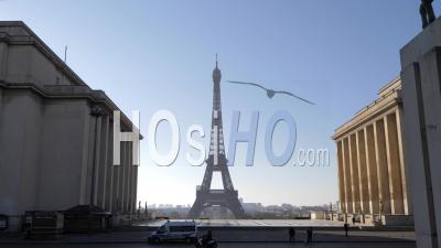 The Trocadero Square And The Eiffel Tower In Paris During The Covid-19 Lockdown Video Footage
