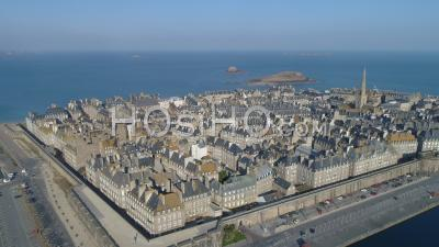 Empty Parking Spaces In Front Of Intra Muros Saint-Malo City At Day16 Of Covid-19 Outbreak, France - Video Drone Footage