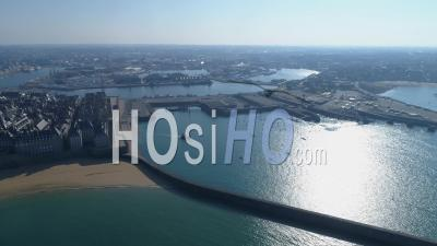The Port Of Saint-Malo And The Intra Muros Saint-Malo City At Day16 Of Covid-19 Outbreak, France - Video Drone Footage