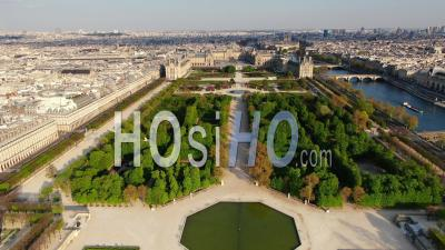 Louvre Museum, Pyramid And Tuileries Garden During The Quarantine Of Paris, Wide Angle, Seen By Drone